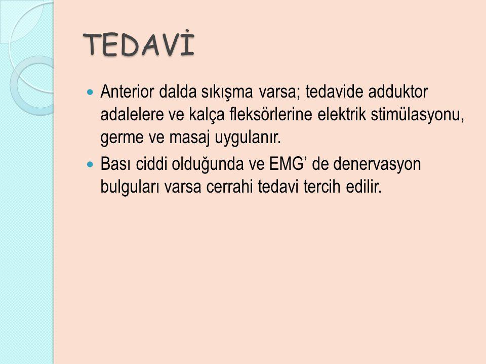 TEDAVİ Anterior dalda sıkışma varsa; tedavide adduktor adalelere ve kalça fleksörlerine elektrik stimülasyonu, germe ve masaj uygulanır.