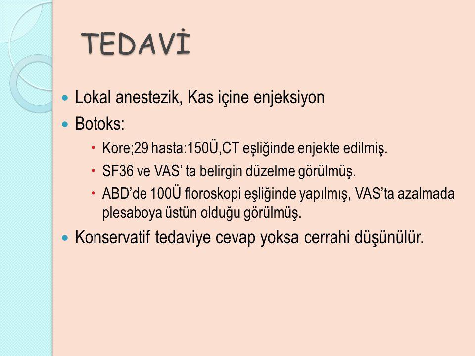 TEDAVİ Lokal anestezik, Kas içine enjeksiyon Botoks: