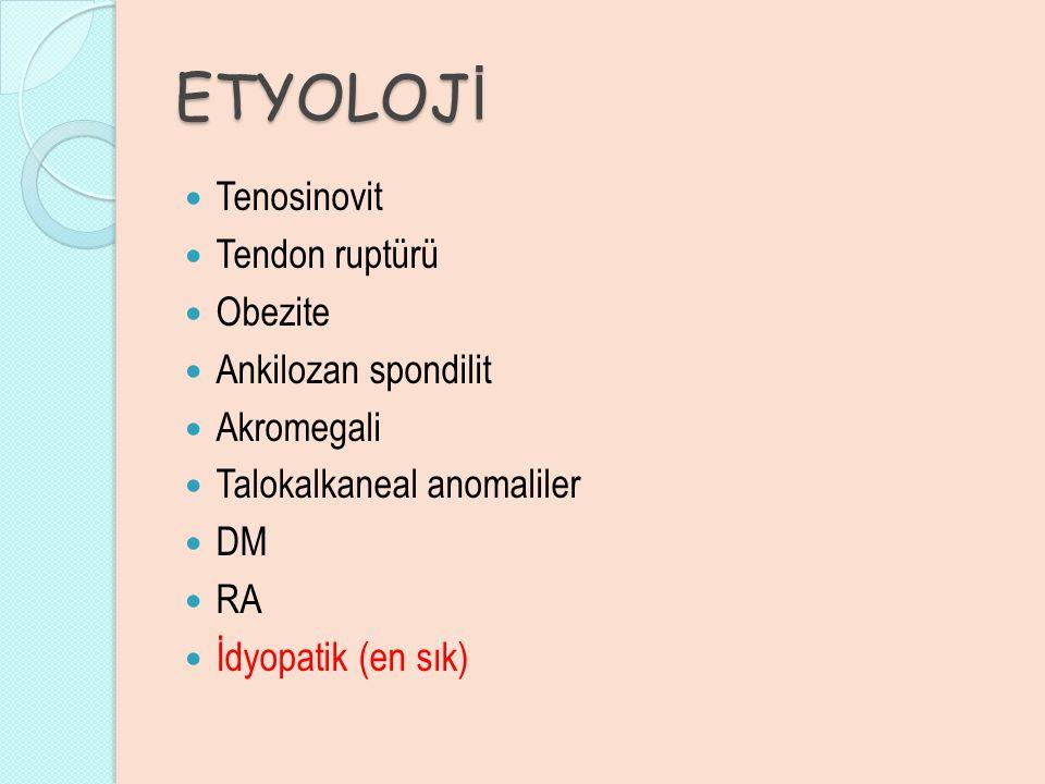ETYOLOJİ Tenosinovit Tendon ruptürü Obezite Ankilozan spondilit