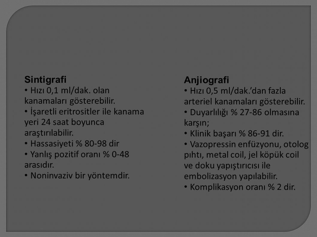 Sintigrafi • Hızı 0,1 ml/dak. olan. kanamaları gösterebilir. • İşaretli eritrositler ile kanama. yeri 24 saat boyunca.