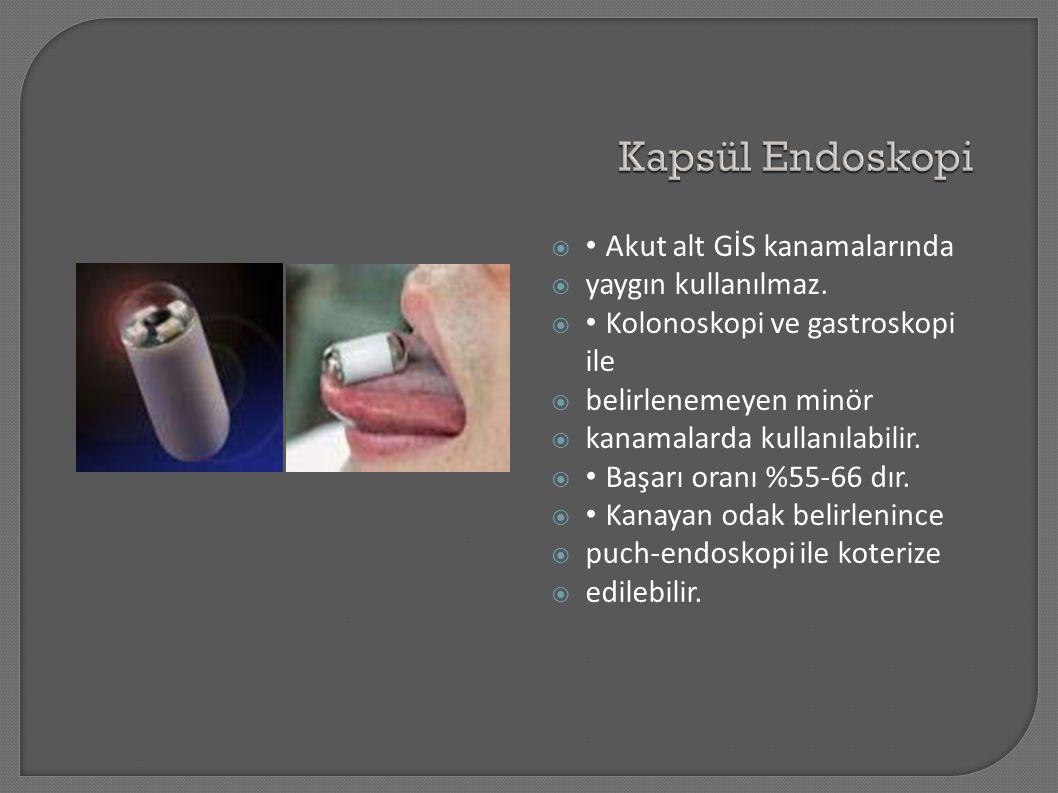 Kapsül Endoskopi • Akut alt GİS kanamalarında yaygın kullanılmaz.