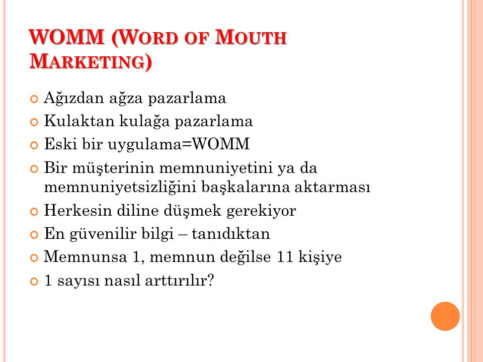 WOMM (Word of Mouth Marketing)