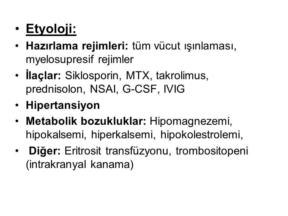 Etyoloji: Hazırlama rejimleri: tüm vücut ışınlaması, myelosupresif rejimler. İlaçlar: Siklosporin, MTX, takrolimus, prednisolon, NSAI, G-CSF, IVIG.
