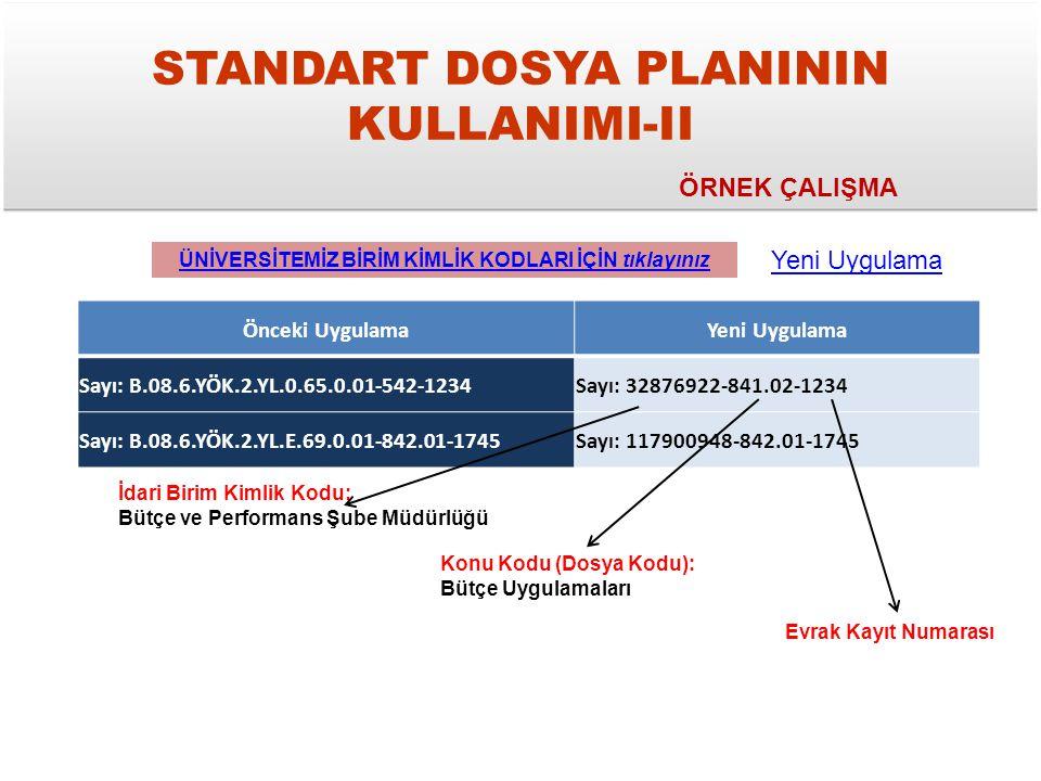 STANDART DOSYA PLANININ KULLANIMI-II
