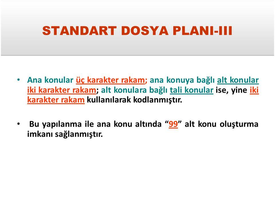 STANDART DOSYA PLANI-III