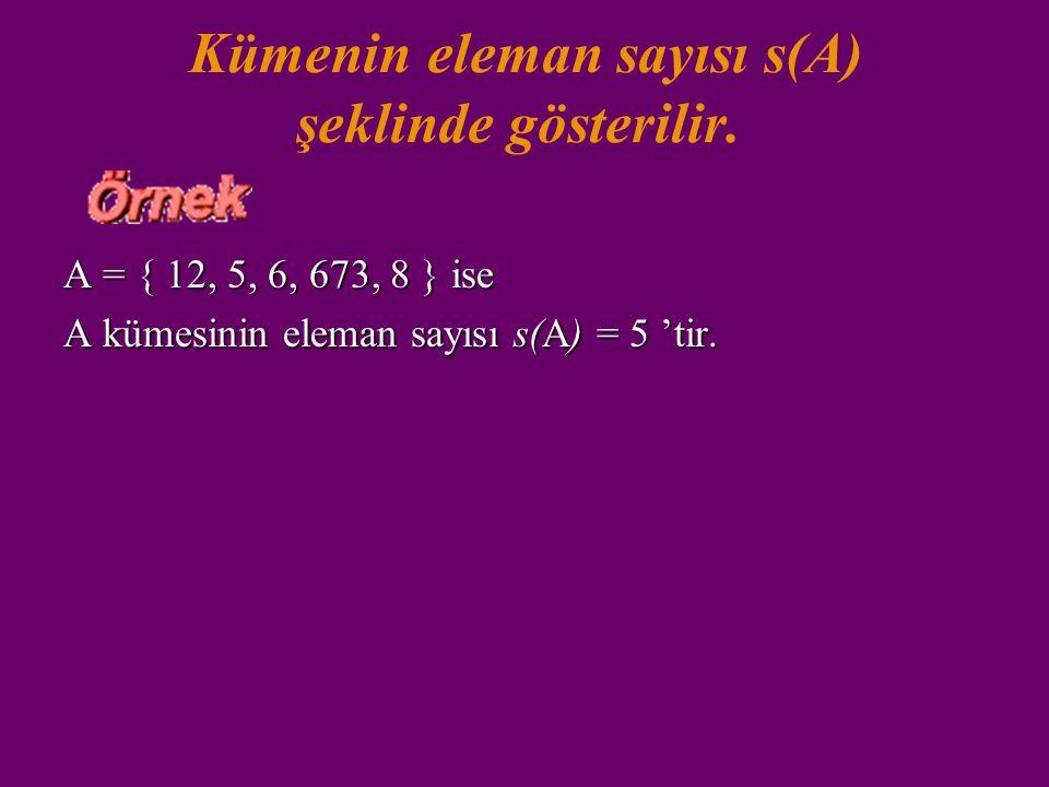 Kümenin eleman sayısı s(A) şeklinde gösterilir.