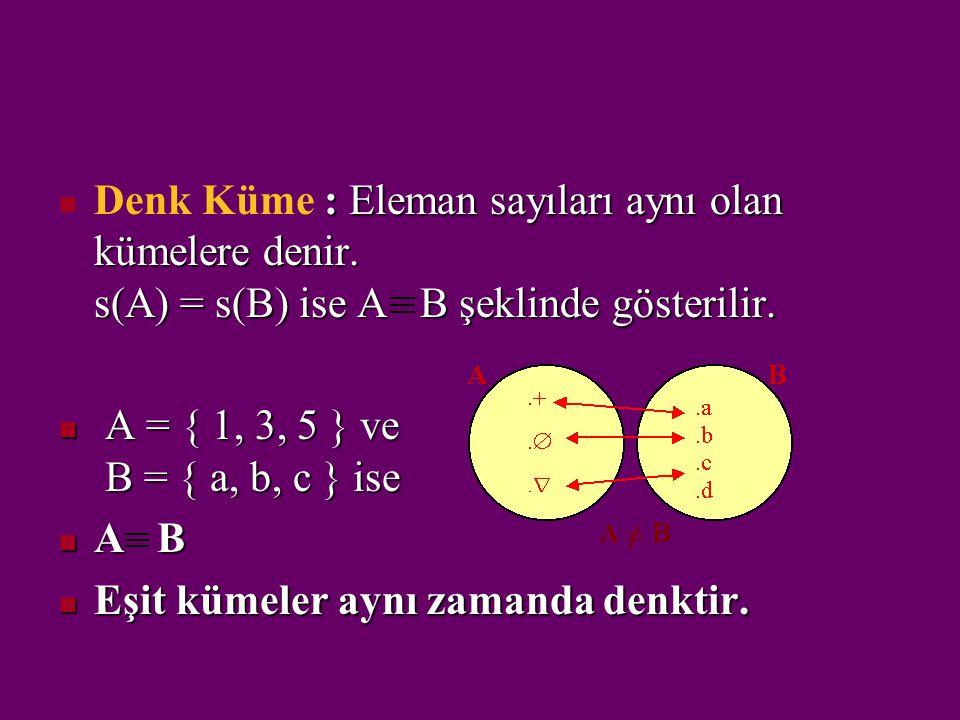 Denk Küme : Eleman sayıları aynı olan kümelere denir