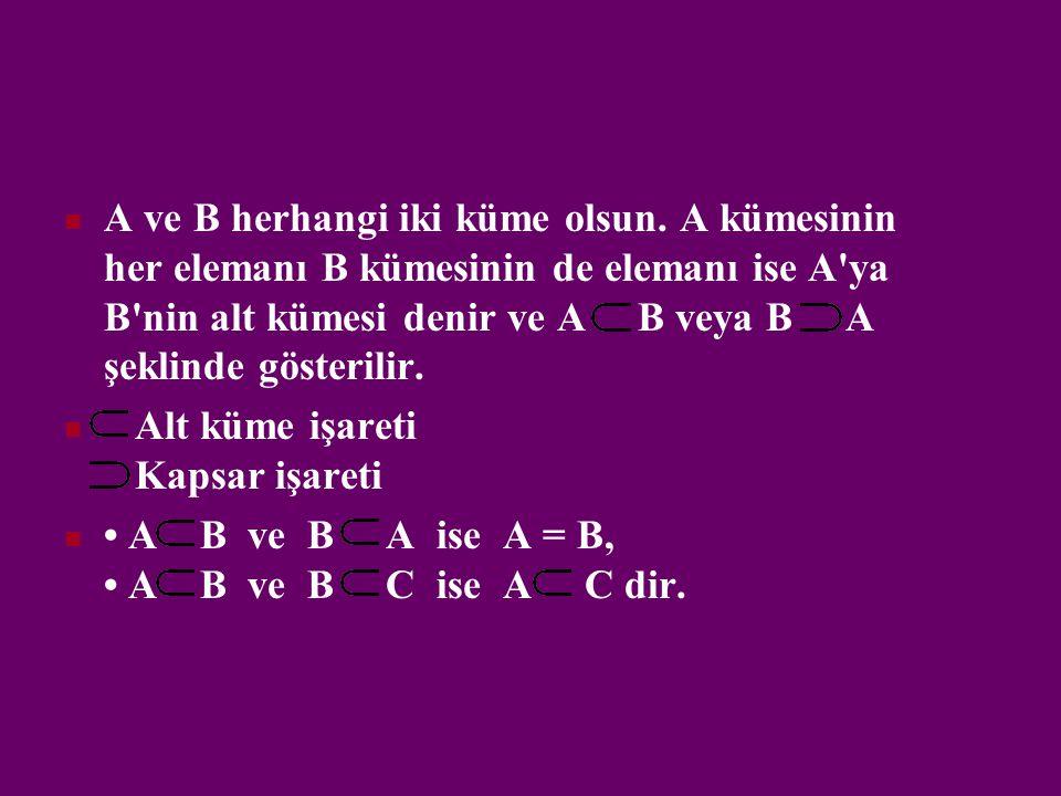 A ve B herhangi iki küme olsun