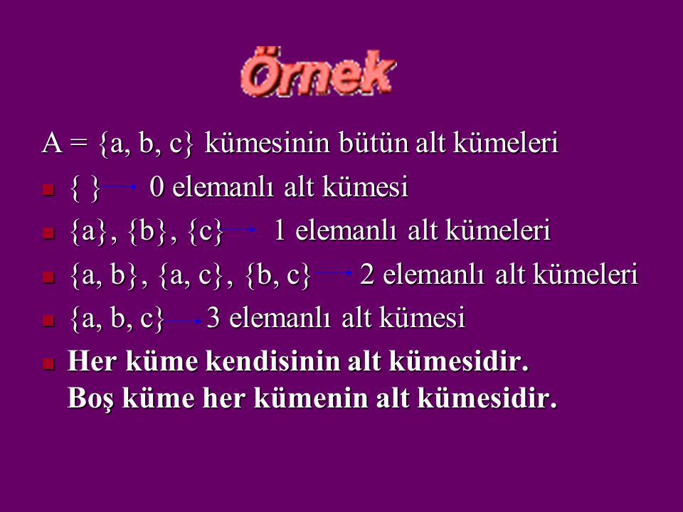 A = {a, b, c} kümesinin bütün alt kümeleri