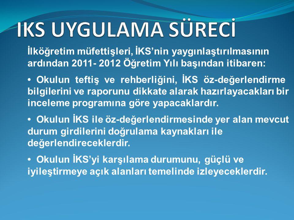 IKS UYGULAMA SÜRECİ İlköğretim müfettişleri, İKS'nin yaygınlaştırılmasının ardından 2011- 2012 Öğretim Yılı başından itibaren: