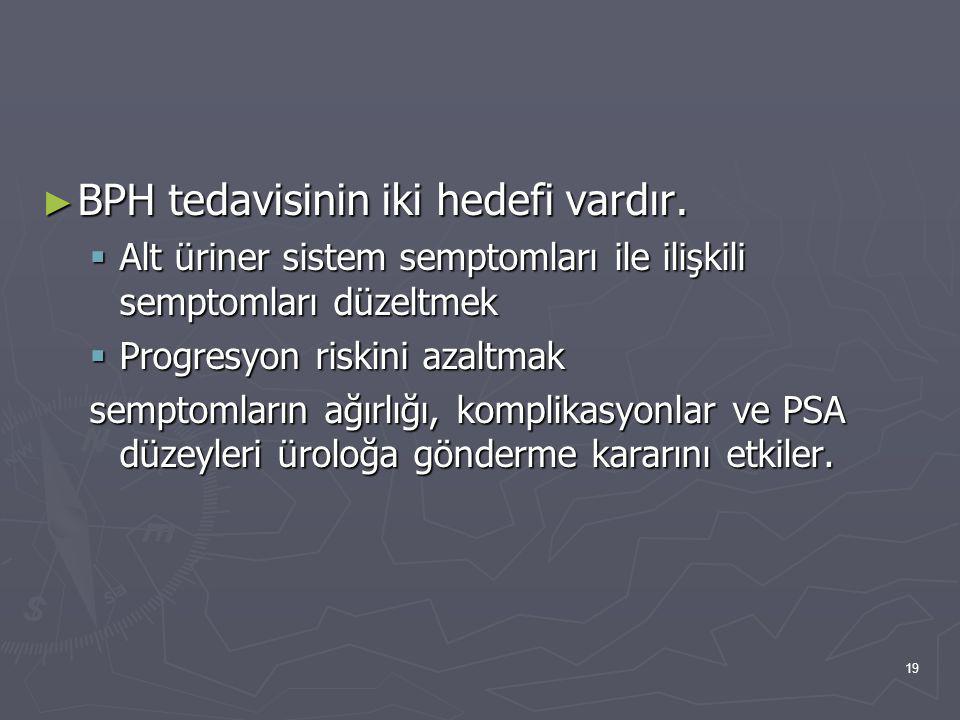 BPH tedavisinin iki hedefi vardır.