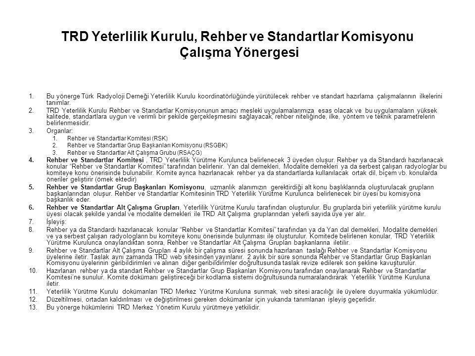 TRD Yeterlilik Kurulu, Rehber ve Standartlar Komisyonu Çalışma Yönergesi