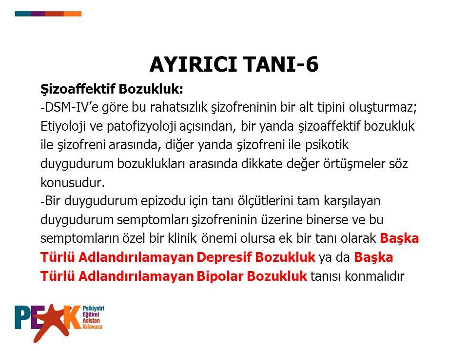 AYIRICI TANI-6 Şizoaffektif Bozukluk: