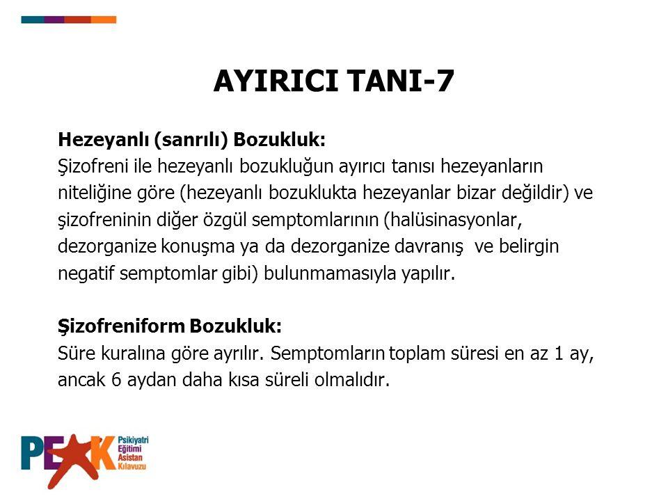 AYIRICI TANI-7 Hezeyanlı (sanrılı) Bozukluk: