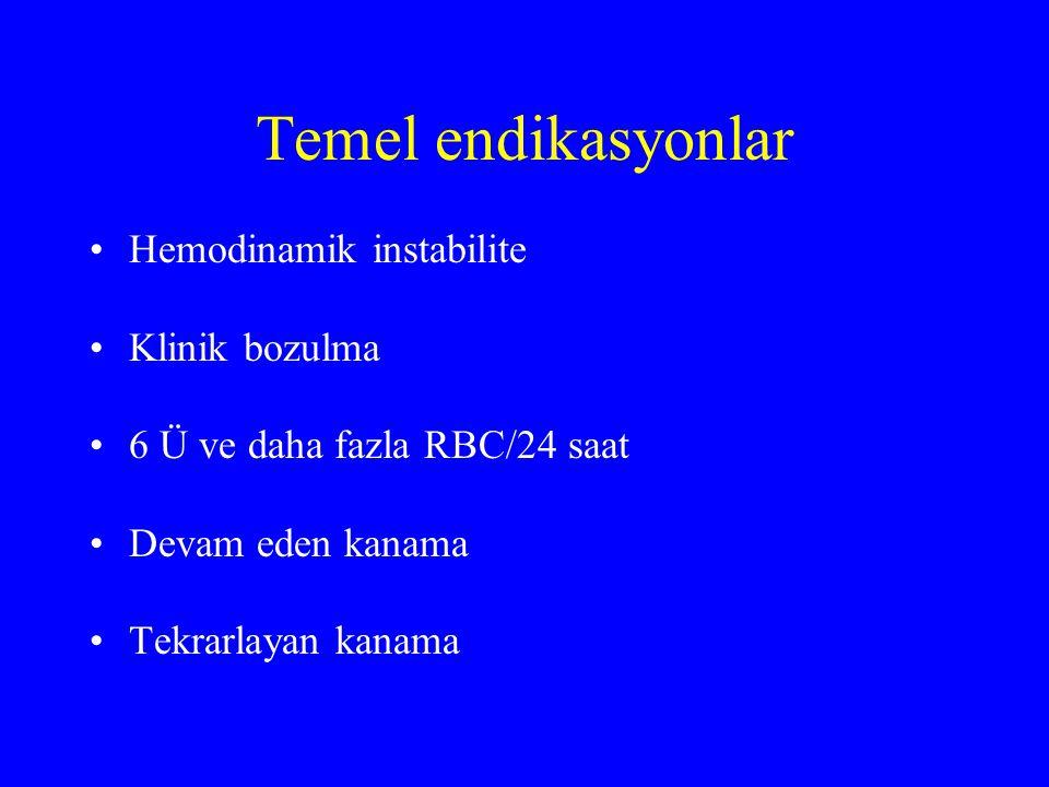 Temel endikasyonlar Hemodinamik instabilite Klinik bozulma