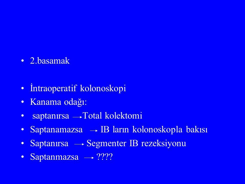 2.basamak İntraoperatif kolonoskopi. Kanama odağı: saptanırsa Total kolektomi. Saptanamazsa IB ların kolonoskopla bakısı.
