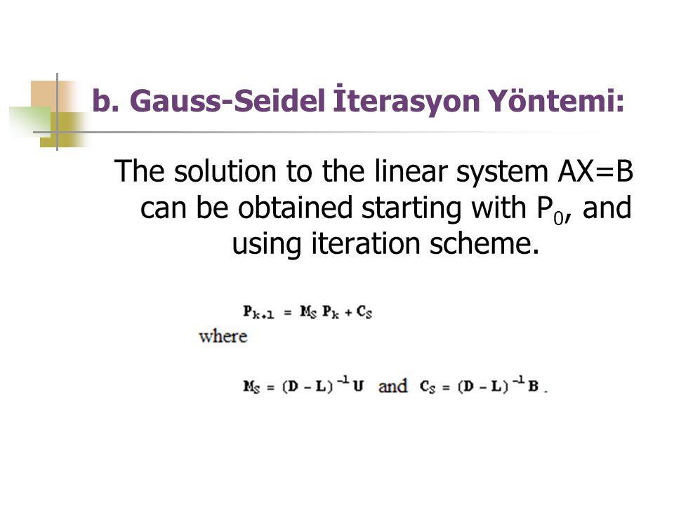 b. Gauss-Seidel İterasyon Yöntemi: