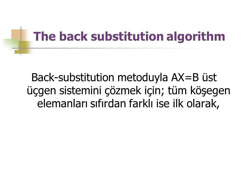 The back substitution algorithm