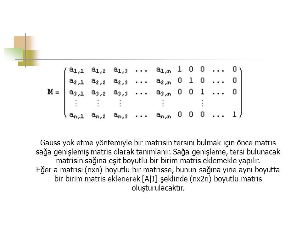 Gauss yok etme yöntemiyle bir matrisin tersini bulmak için önce matris sağa genişlemiş matris olarak tanımlanır. Sağa genişleme, tersi bulunacak matrisin sağına eşit boyutlu bir birim matris eklemekle yapılır.