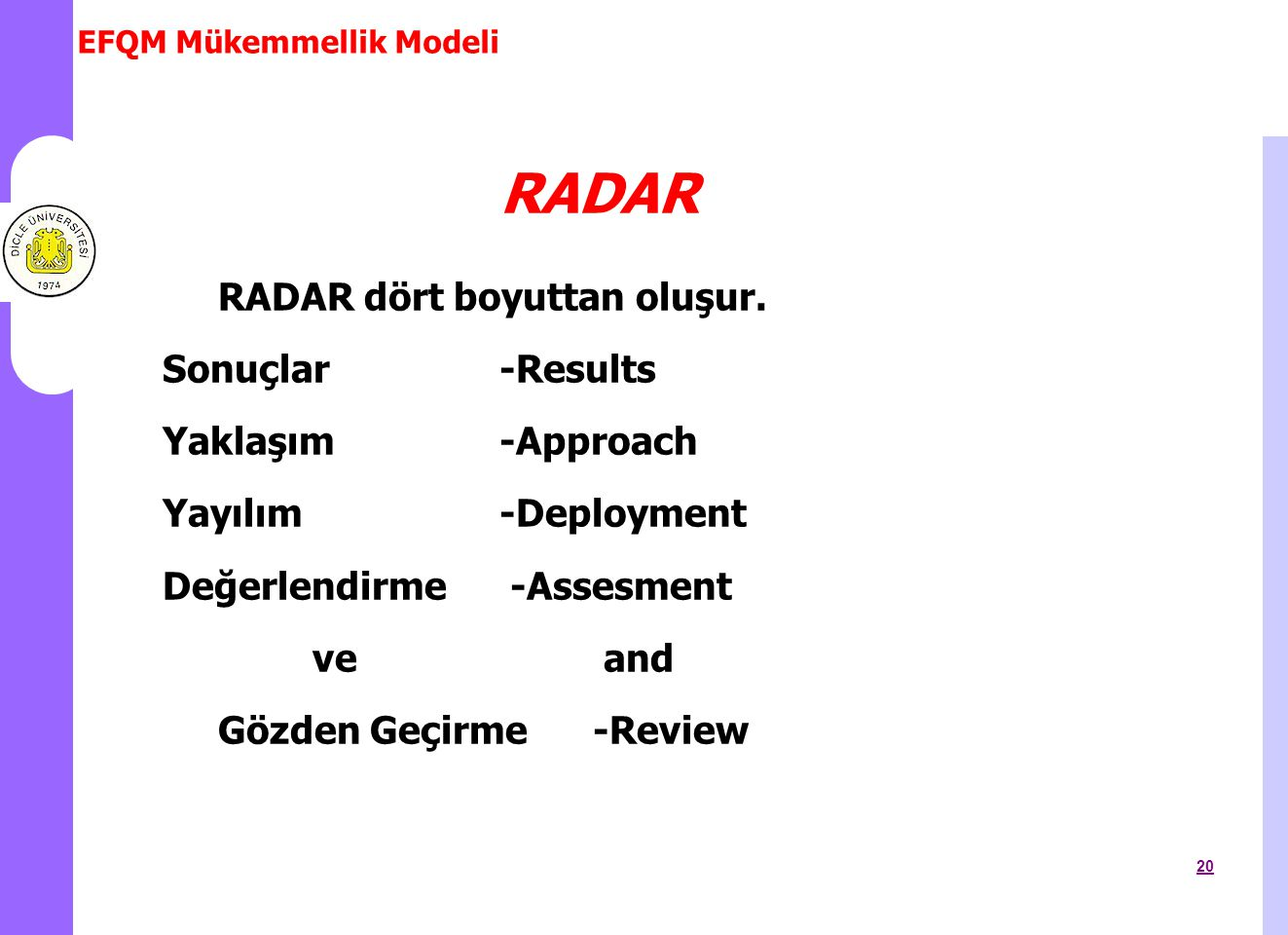 RADAR RADAR dört boyuttan oluşur. Sonuçlar -Results Yaklaşım -Approach