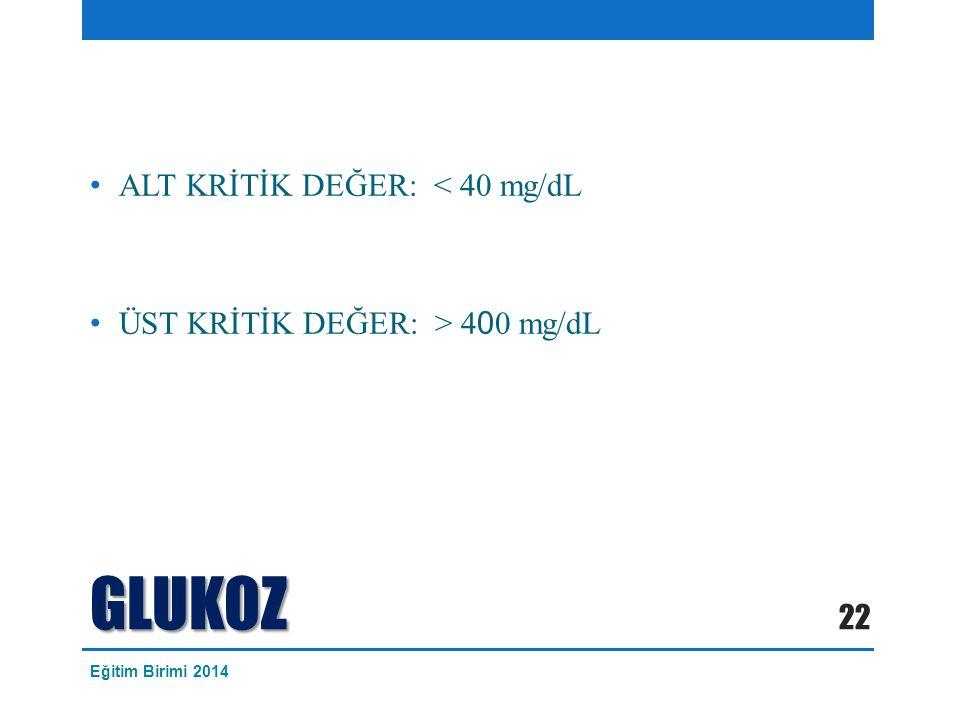 GLUKOZ ALT KRİTİK DEĞER: < 40 mg/dL