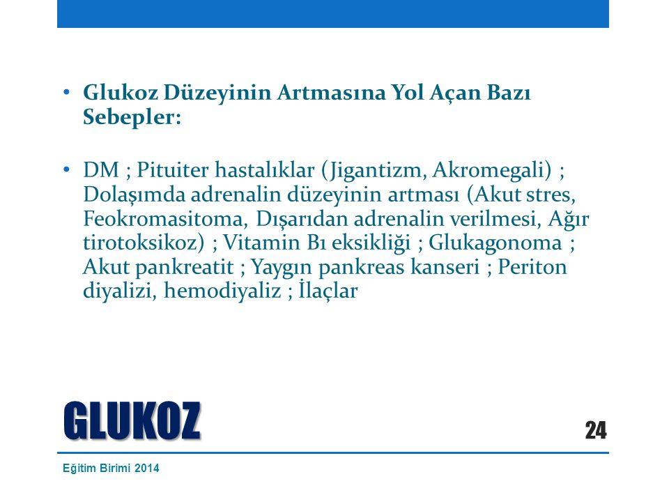 GLUKOZ Glukoz Düzeyinin Artmasına Yol Açan Bazı Sebepler: