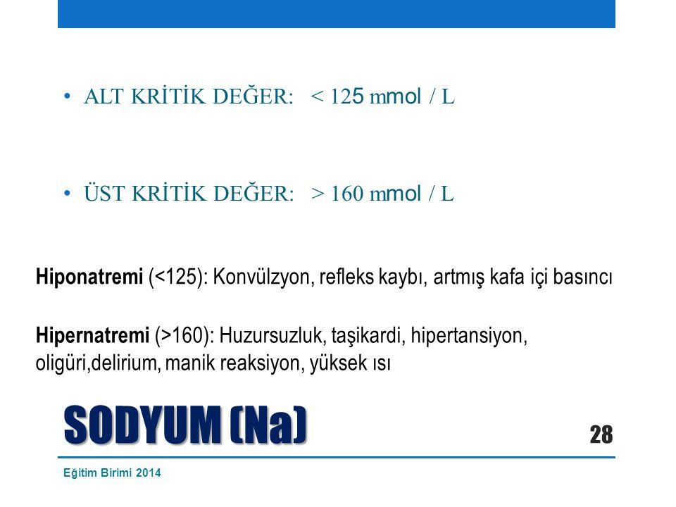 SODYUM (Na) ALT KRİTİK DEĞER: < 125 mmol / L