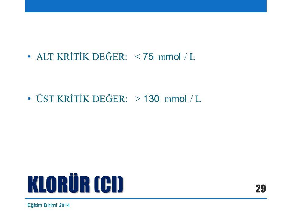 KLORÜR (CI) ALT KRİTİK DEĞER: < 75 mmol / L