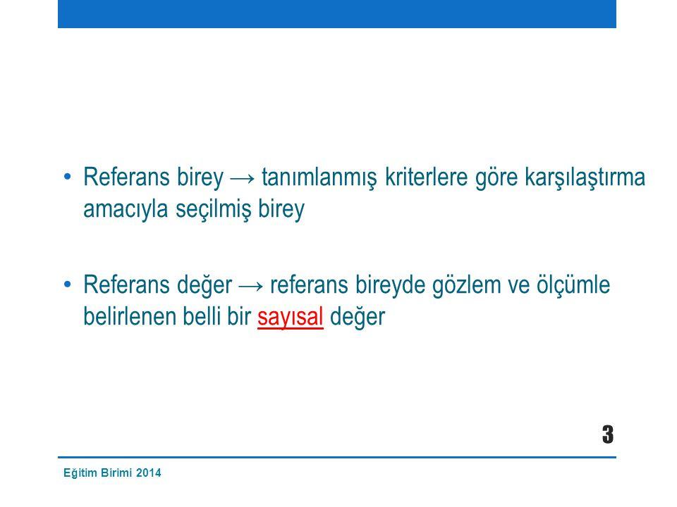 Referans birey → tanımlanmış kriterlere göre karşılaştırma amacıyla seçilmiş birey