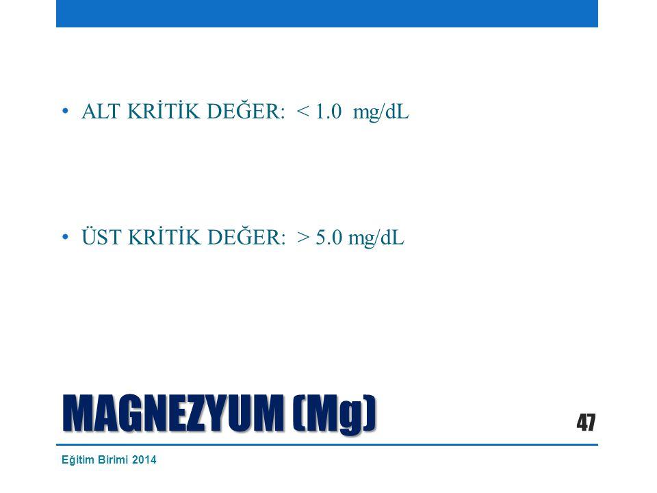 MAGNEZYUM (Mg) ALT KRİTİK DEĞER: < 1.0 mg/dL