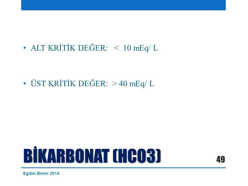 BİKARBONAT (HCO3) ALT KRİTİK DEĞER: < 10 mEq/ L