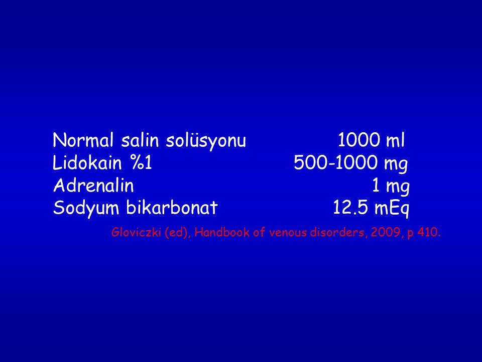 Normal salin solüsyonu 1000 ml Lidokain %1 500-1000 mg Adrenalin 1 mg Sodyum bikarbonat 12.5 mEq Gloviczki (ed), Handbook of venous disorders, 2009, p 410.