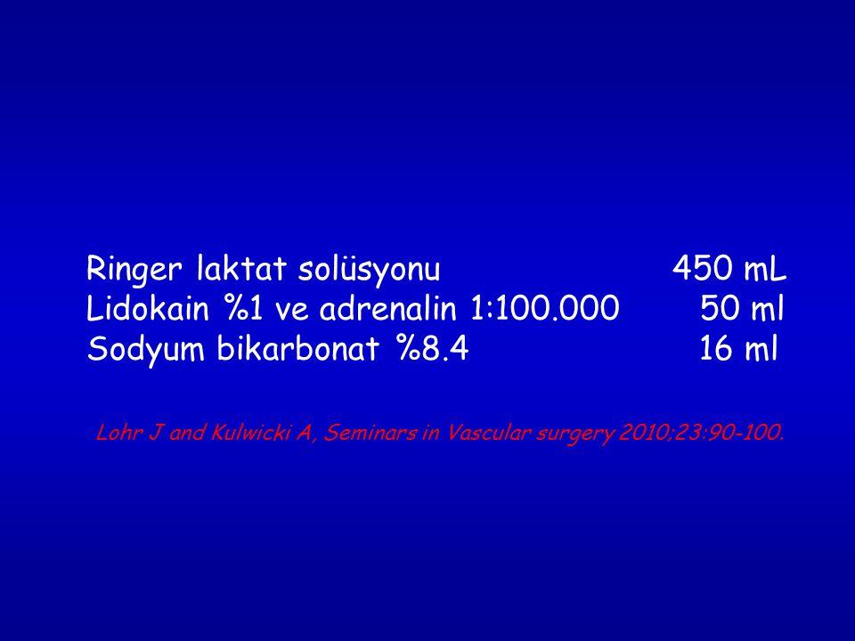 Ringer laktat solüsyonu 450 mL Lidokain %1 ve adrenalin 1:100