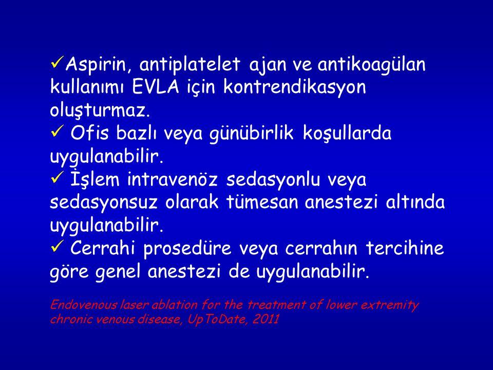 Aspirin, antiplatelet ajan ve antikoagülan kullanımı EVLA için kontrendikasyon oluşturmaz.