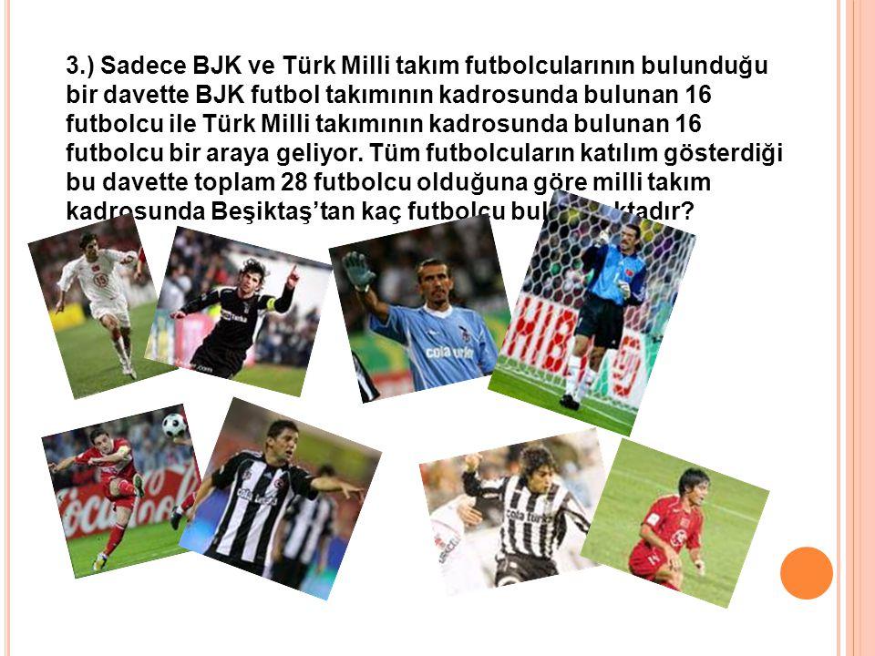 3.) Sadece BJK ve Türk Milli takım futbolcularının bulunduğu bir davette BJK futbol takımının kadrosunda bulunan 16 futbolcu ile Türk Milli takımının kadrosunda bulunan 16 futbolcu bir araya geliyor.