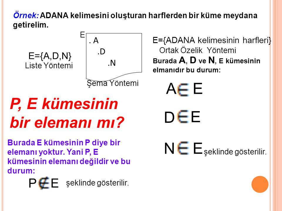 P, E kümesinin bir elemanı mı D E
