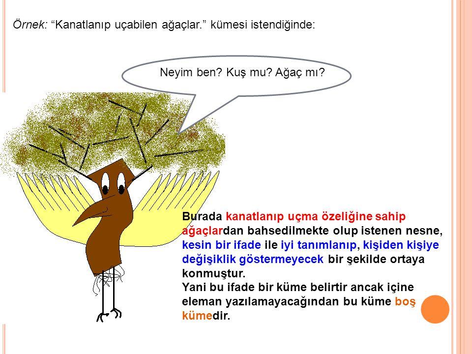Örnek: Kanatlanıp uçabilen ağaçlar. kümesi istendiğinde: