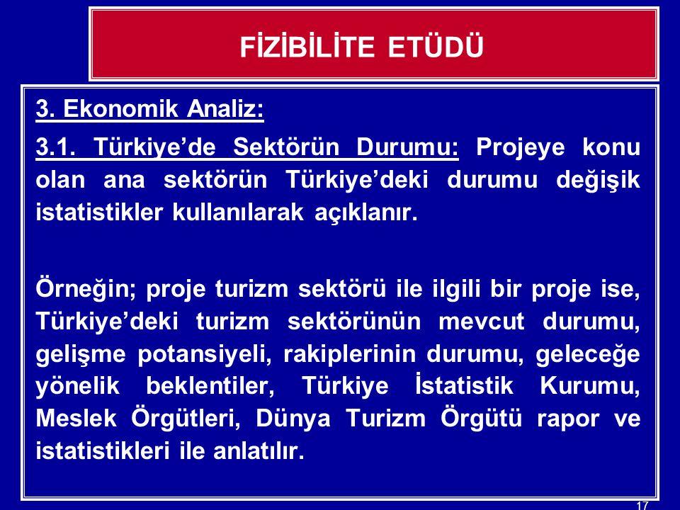 FİZİBİLİTE ETÜDÜ 3. Ekonomik Analiz:
