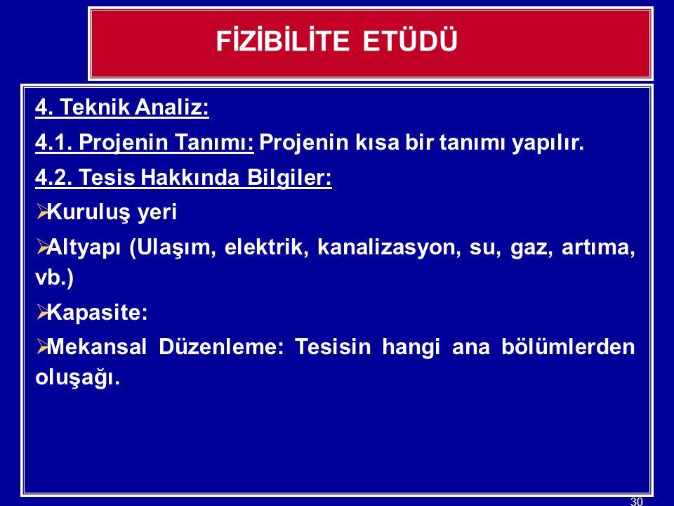 FİZİBİLİTE ETÜDÜ 4. Teknik Analiz: