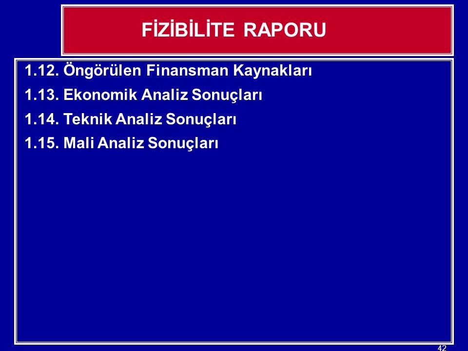 FİZİBİLİTE RAPORU 1.12. Öngörülen Finansman Kaynakları