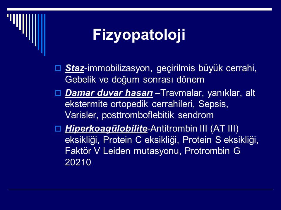 Fizyopatoloji Staz-immobilizasyon, geçirilmis büyük cerrahi, Gebelik ve doğum sonrası dönem.