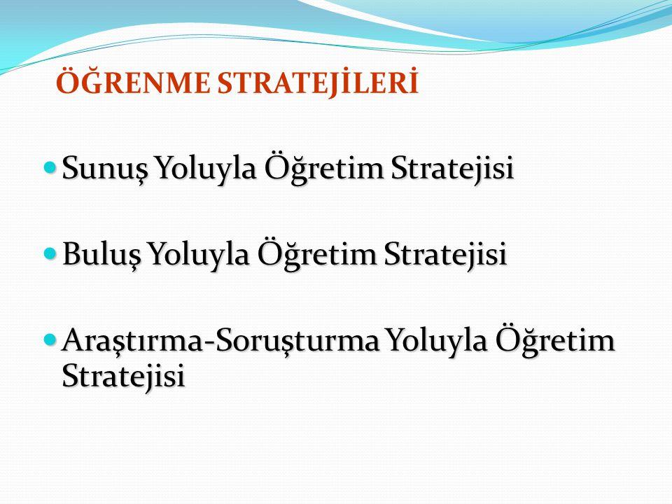 Sunuş Yoluyla Öğretim Stratejisi Buluş Yoluyla Öğretim Stratejisi