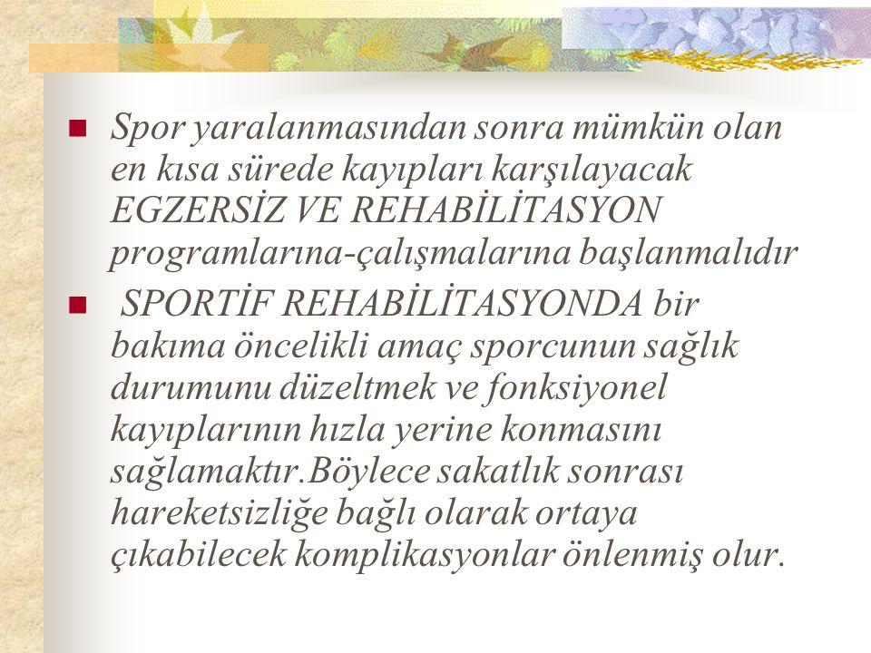 Spor yaralanmasından sonra mümkün olan en kısa sürede kayıpları karşılayacak EGZERSİZ VE REHABİLİTASYON programlarına-çalışmalarına başlanmalıdır