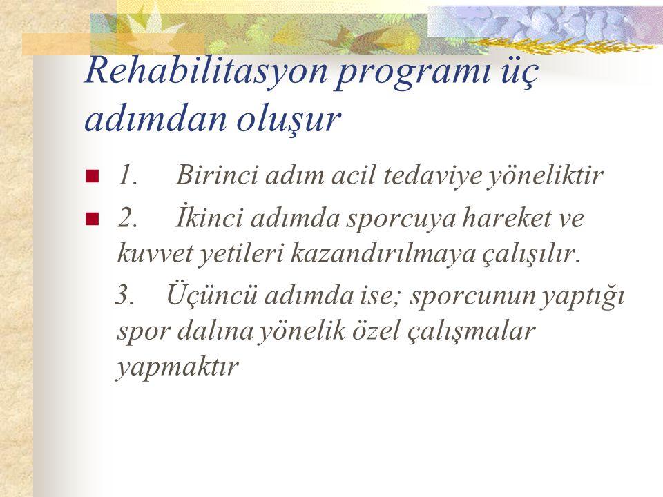 Rehabilitasyon programı üç adımdan oluşur
