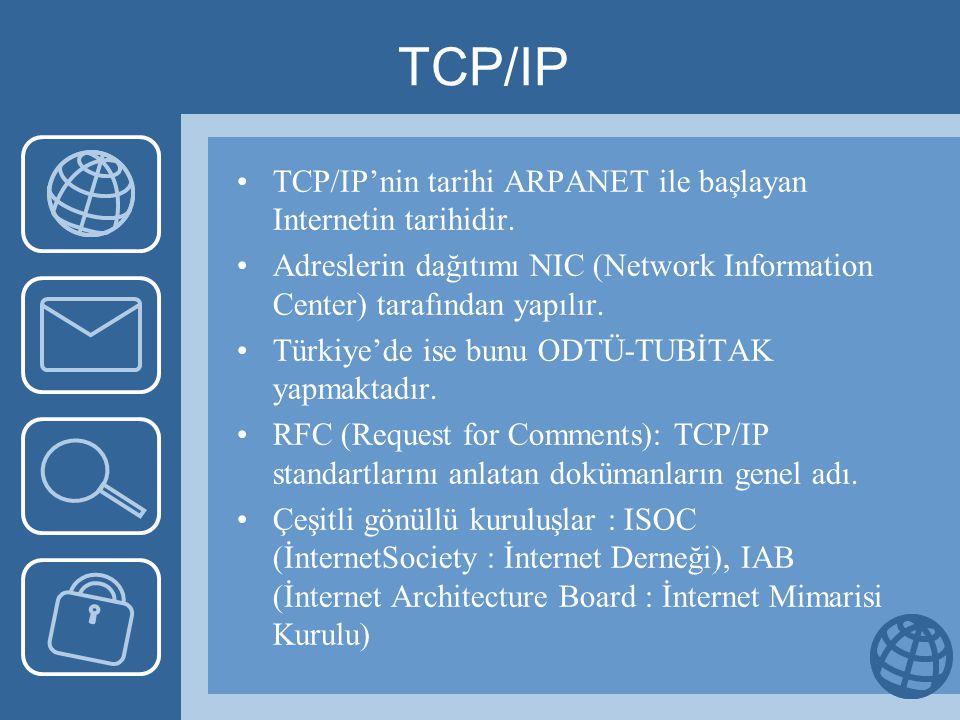 TCP/IP TCP/IP'nin tarihi ARPANET ile başlayan Internetin tarihidir.