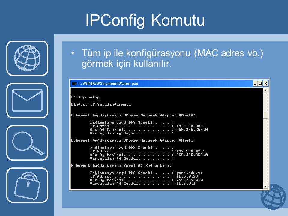 IPConfig Komutu Tüm ip ile konfigürasyonu (MAC adres vb.) görmek için kullanılır.