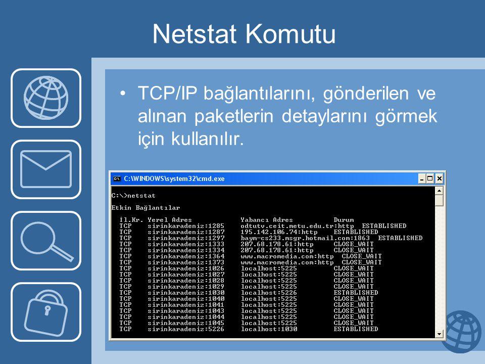 Netstat Komutu TCP/IP bağlantılarını, gönderilen ve alınan paketlerin detaylarını görmek için kullanılır.