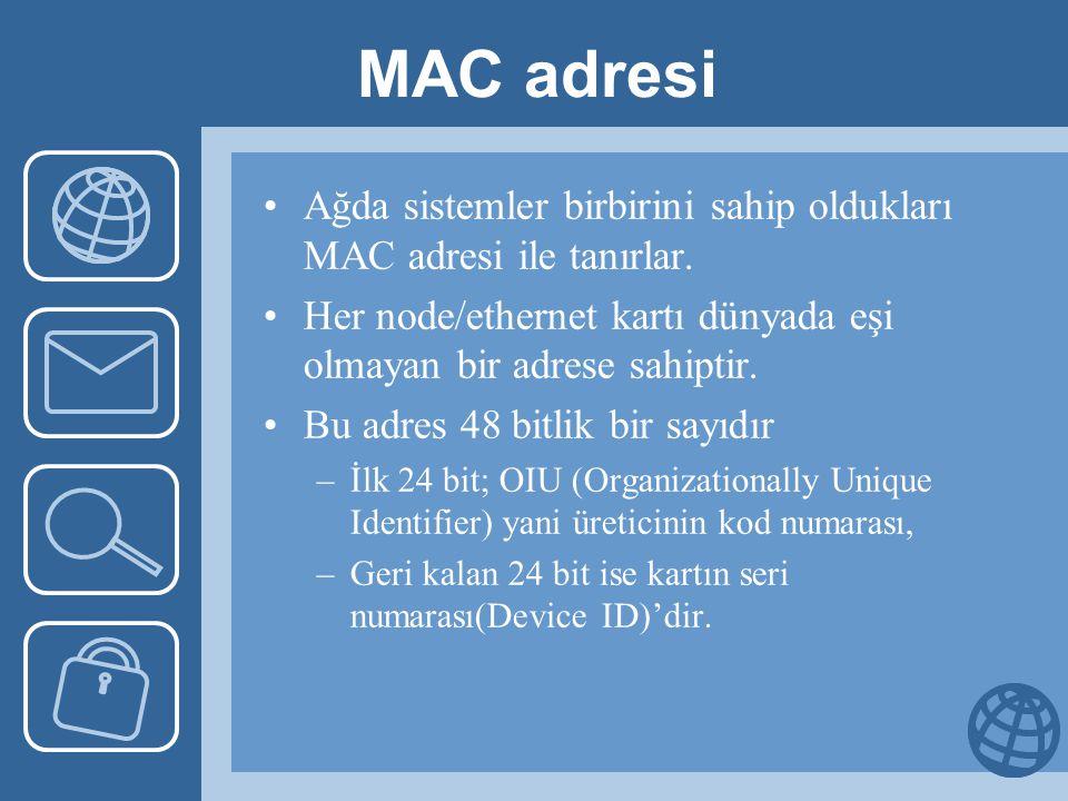 MAC adresi Ağda sistemler birbirini sahip oldukları MAC adresi ile tanırlar. Her node/ethernet kartı dünyada eşi olmayan bir adrese sahiptir.