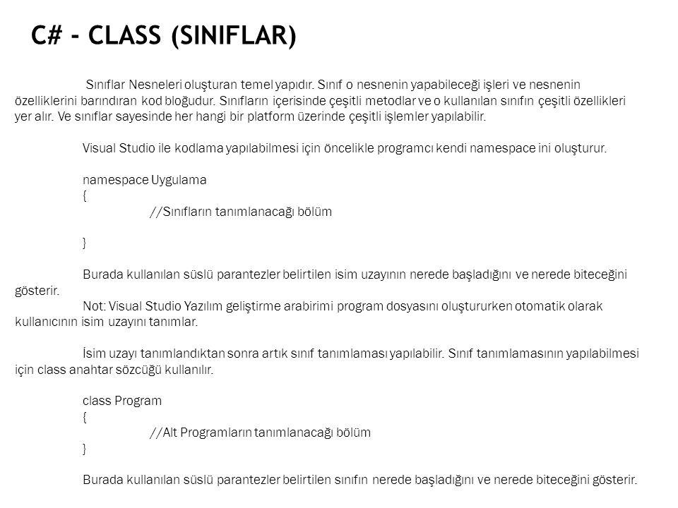 C# - CLASS (SINIFLAR)