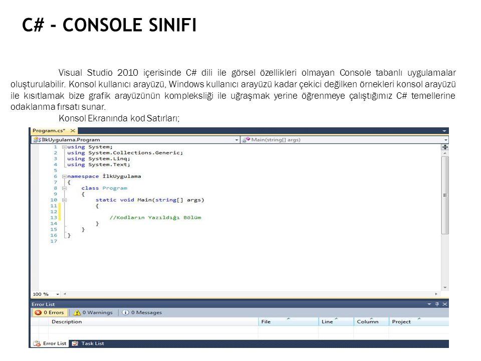 C# - Console Sinifi